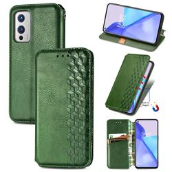 Ultra Slim Fashion Business Card Magnetic Automatic Suction Leather Flip Cover for OnePlus 9 - Green