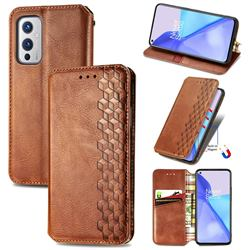 Ultra Slim Fashion Business Card Magnetic Automatic Suction Leather Flip Cover for OnePlus 9 - Brown