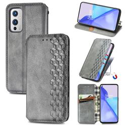 Ultra Slim Fashion Business Card Magnetic Automatic Suction Leather Flip Cover for OnePlus 9 - Grey
