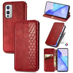 Ultra Slim Fashion Business Card Magnetic Automatic Suction Leather Flip Cover for OnePlus 9 - Red