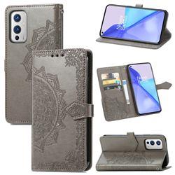 Embossing Imprint Mandala Flower Leather Wallet Case for OnePlus 9 - Gray