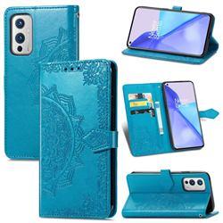Embossing Imprint Mandala Flower Leather Wallet Case for OnePlus 9 - Blue