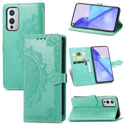 Embossing Imprint Mandala Flower Leather Wallet Case for OnePlus 9 - Green