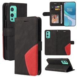 Luxury Two-color Stitching Leather Wallet Case Cover for OnePlus 9 - Black