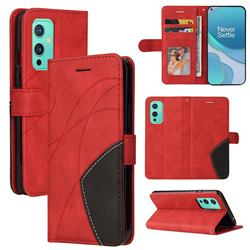 Luxury Two-color Stitching Leather Wallet Case Cover for OnePlus 9 - Red