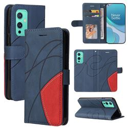 Luxury Two-color Stitching Leather Wallet Case Cover for OnePlus 9 - Blue