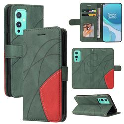 Luxury Two-color Stitching Leather Wallet Case Cover for OnePlus 9 - Green