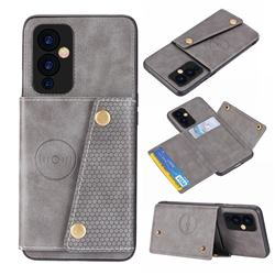 Retro Multifunction Card Slots Stand Leather Coated Phone Back Cover for OnePlus 9 - Gray