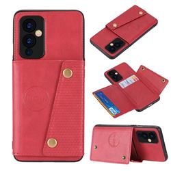 Retro Multifunction Card Slots Stand Leather Coated Phone Back Cover for OnePlus 9 - Red