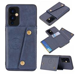 Retro Multifunction Card Slots Stand Leather Coated Phone Back Cover for OnePlus 9 - Blue