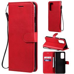 Retro Greek Classic Smooth PU Leather Wallet Phone Case for OnePlus 9 - Red