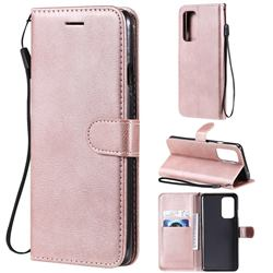 Retro Greek Classic Smooth PU Leather Wallet Phone Case for OnePlus 9 - Rose Gold
