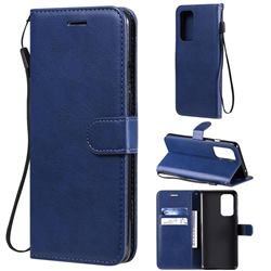 Retro Greek Classic Smooth PU Leather Wallet Phone Case for OnePlus 9 - Blue