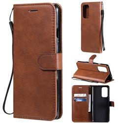 Retro Greek Classic Smooth PU Leather Wallet Phone Case for OnePlus 9 - Brown