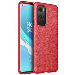 Luxury Auto Focus Litchi Texture Silicone TPU Back Cover for OnePlus 9 Pro - Red