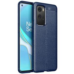 Luxury Auto Focus Litchi Texture Silicone TPU Back Cover for OnePlus 9 Pro - Dark Blue