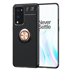 Auto Focus Invisible Ring Holder Soft Phone Case for OnePlus 9 Pro - Black Gold