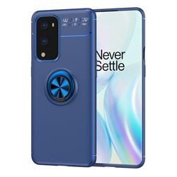 Auto Focus Invisible Ring Holder Soft Phone Case for OnePlus 9 Pro - Blue