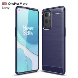 Luxury Carbon Fiber Brushed Wire Drawing Silicone TPU Back Cover for OnePlus 9 Pro - Navy