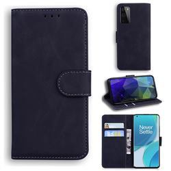 Retro Classic Skin Feel Leather Wallet Phone Case for OnePlus 9 Pro - Black
