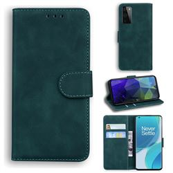 Retro Classic Skin Feel Leather Wallet Phone Case for OnePlus 9 Pro - Green