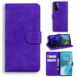 Retro Classic Skin Feel Leather Wallet Phone Case for OnePlus 9 Pro - Purple