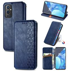 Ultra Slim Fashion Business Card Magnetic Automatic Suction Leather Flip Cover for OnePlus 9 Pro - Dark Blue