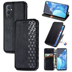 Ultra Slim Fashion Business Card Magnetic Automatic Suction Leather Flip Cover for OnePlus 9 Pro - Black