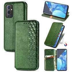 Ultra Slim Fashion Business Card Magnetic Automatic Suction Leather Flip Cover for OnePlus 9 Pro - Green
