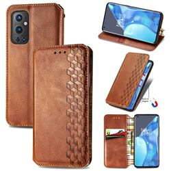 Ultra Slim Fashion Business Card Magnetic Automatic Suction Leather Flip Cover for OnePlus 9 Pro - Brown