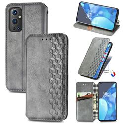 Ultra Slim Fashion Business Card Magnetic Automatic Suction Leather Flip Cover for OnePlus 9 Pro - Grey