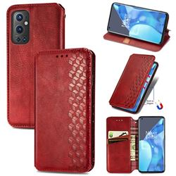 Ultra Slim Fashion Business Card Magnetic Automatic Suction Leather Flip Cover for OnePlus 9 Pro - Red