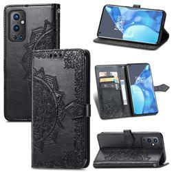 Embossing Imprint Mandala Flower Leather Wallet Case for OnePlus 9 Pro - Black
