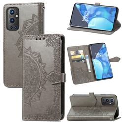 Embossing Imprint Mandala Flower Leather Wallet Case for OnePlus 9 Pro - Gray