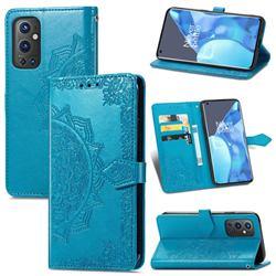 Embossing Imprint Mandala Flower Leather Wallet Case for OnePlus 9 Pro - Blue
