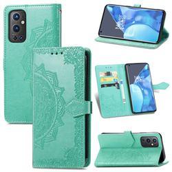 Embossing Imprint Mandala Flower Leather Wallet Case for OnePlus 9 Pro - Green