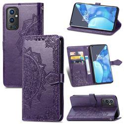 Embossing Imprint Mandala Flower Leather Wallet Case for OnePlus 9 Pro - Purple