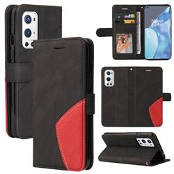 Luxury Two-color Stitching Leather Wallet Case Cover for OnePlus 9 Pro - Black