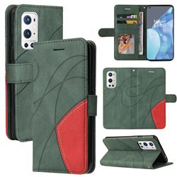Luxury Two-color Stitching Leather Wallet Case Cover for OnePlus 9 Pro - Green