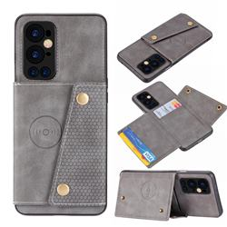 Retro Multifunction Card Slots Stand Leather Coated Phone Back Cover for OnePlus 9 Pro - Gray