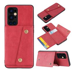Retro Multifunction Card Slots Stand Leather Coated Phone Back Cover for OnePlus 9 Pro - Red