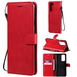 Retro Greek Classic Smooth PU Leather Wallet Phone Case for OnePlus 9 Pro - Red