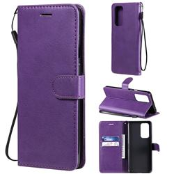 Retro Greek Classic Smooth PU Leather Wallet Phone Case for OnePlus 9 Pro - Purple