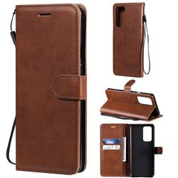 Retro Greek Classic Smooth PU Leather Wallet Phone Case for OnePlus 9 Pro - Brown