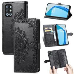 Embossing Imprint Mandala Flower Leather Wallet Case for OnePlus 9R - Black