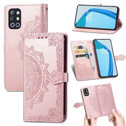 Embossing Imprint Mandala Flower Leather Wallet Case for OnePlus 9R - Rose Gold