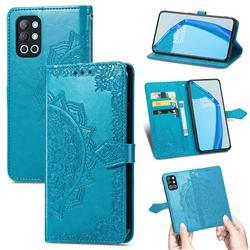 Embossing Imprint Mandala Flower Leather Wallet Case for OnePlus 9R - Blue