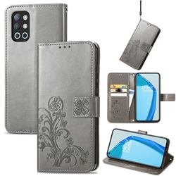 Embossing Imprint Four-Leaf Clover Leather Wallet Case for OnePlus 9R - Grey