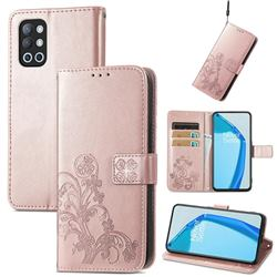Embossing Imprint Four-Leaf Clover Leather Wallet Case for OnePlus 9R - Rose Gold