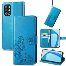 Embossing Imprint Four-Leaf Clover Leather Wallet Case for OnePlus 9R - Blue